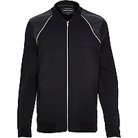 Black contrast panel zip front bomber jacket