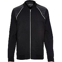Black contrast panel zip front bomber jacket