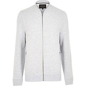 Grey marl zip through bomber jacket