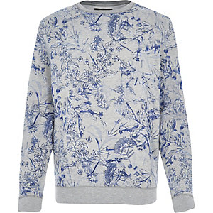 Grey floral sketch print sweatshirt