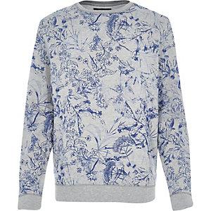 Grey floral sketch print sweatshirt