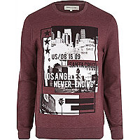 Dark red LA print sweatshirt