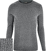 Grey cotton ribbed long sleeve jumper