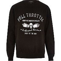 Black full throttle print sweatshirt