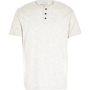 Ecru marl grandad t-shirt
