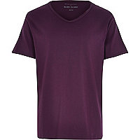 Purple low scoop neck t-shirt