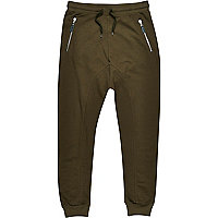 Green drop crotch slub joggers