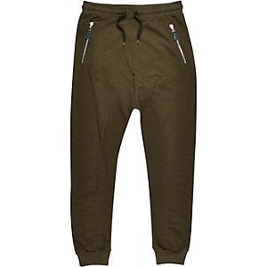 Green drop crotch slub joggers