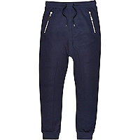 Navy drop crotch slub joggers