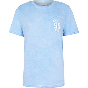 Blue washed Angeles 96 print t-shirt