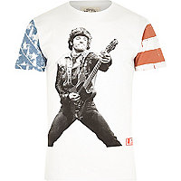 White Worn By guitar print t-shirt