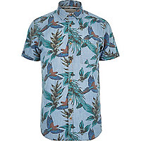 Blue tropical bird print short sleeve shirt
