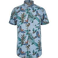 Blue tropical bird print short sleeve shirt