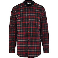 Red check bomber long sleeve shirt