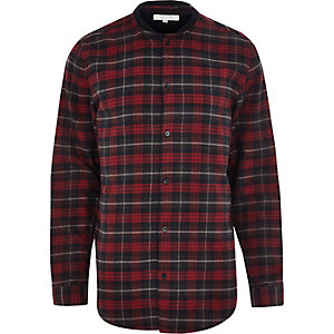 Red check bomber long sleeve shirt