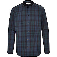 Green check baseball bomber shirt