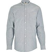 Blue Oxford long sleeve grandad shirt