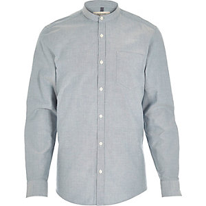 Blue Oxford long sleeve grandad shirt