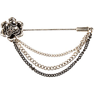 Silver tone flower lapel pin