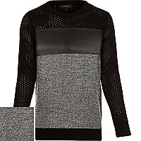 Black panel long sleeve jumper