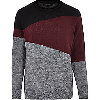 Grey triangle colour block jumper
