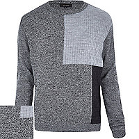 Grey blocked panel knitted jumper