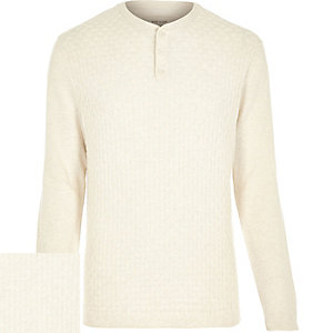 Ecru basket stitch jumper