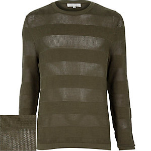 Khaki green mesh stripe crew neck jumper
