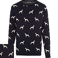 Navy dog print jumper
