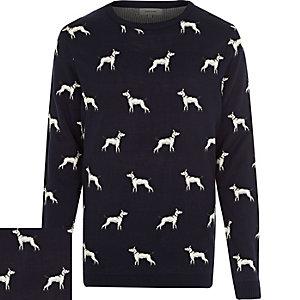 Navy dog print jumper