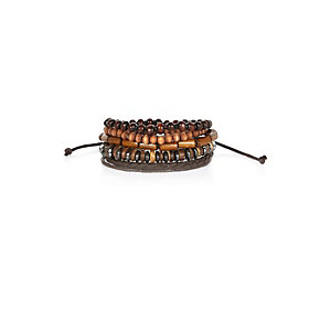 Brown mixed bead bracelets pack