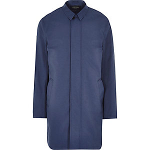 Dark blue smart trench coat