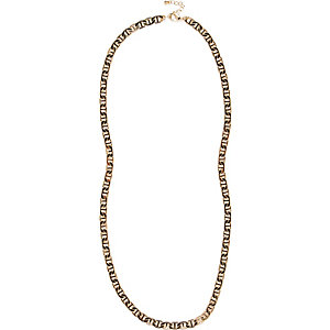 Yellow tone simple chain necklace
