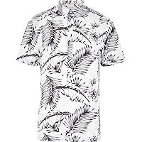 Ecru tropical Hawaii print overhead shirt