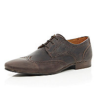 Brown distressed leather formal brogues