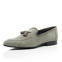 Grey nubuck leather tassel loafers