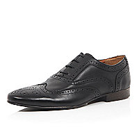 Black leather formal punched lace up loafers