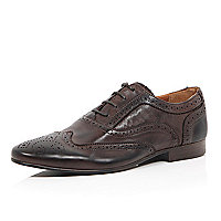 Brown leather formal Oxford brogues