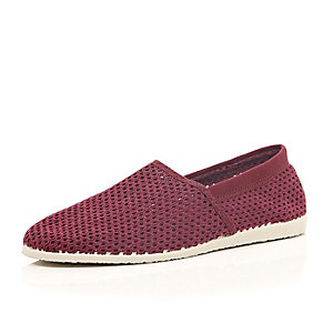 Red mesh canvas slip on plimsolls