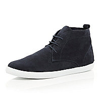 Navy suede lace up mid top boots