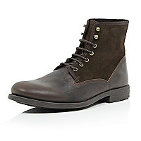 Dark brown suede leather military boots