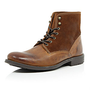 Brown suede leather military boots