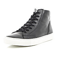 Black leather lace up hi-top trainers