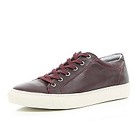 Red nubuck leather lace up trainers