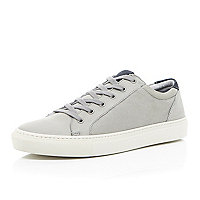 Grey nubuck leather lace up trainers