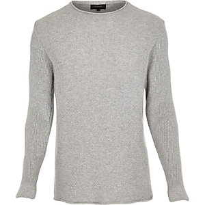 Light grey lightweight textured jumper