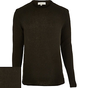 Green lightweight textured jumper