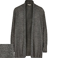 Grey open front mesh cardigan