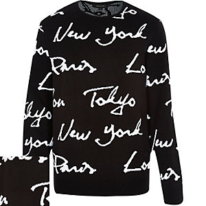 Black city print knitted jumper
