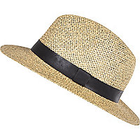 Ecru straw leather-look trim trilby hat